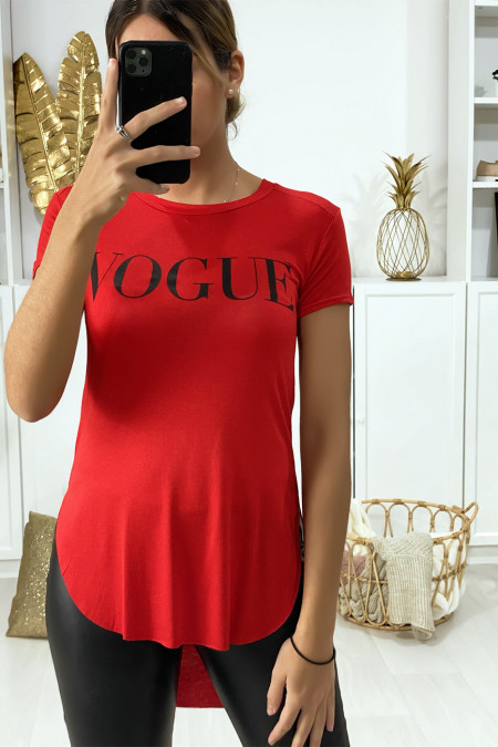 Longer red t-shirt at the back with VOGUE writing