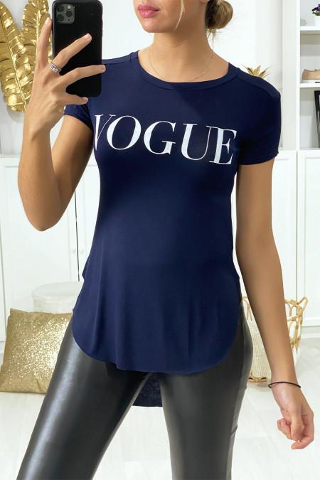 Langer navy T-shirt aan de achterkant met VOGUE-tekst
