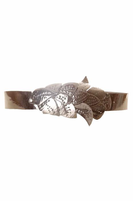 Black belt, leaf pattern buckle BG-PO44
