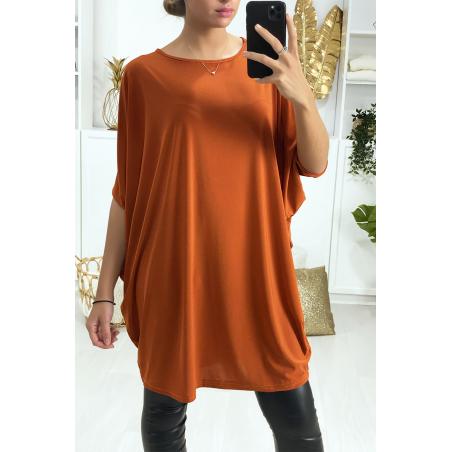 Superbe robe tunique cognac ultra ample et très tendance vendu sans la ceinture