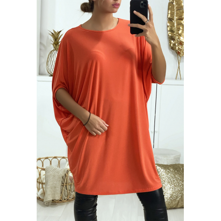 Superbe robe tunique corail ultra ample et très tendance vendu sans la ceinture