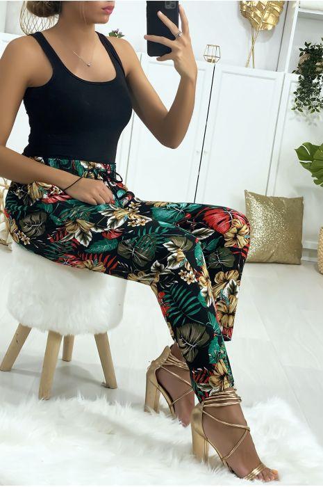 Pantalon noir en coton avec poches et motif fleuris