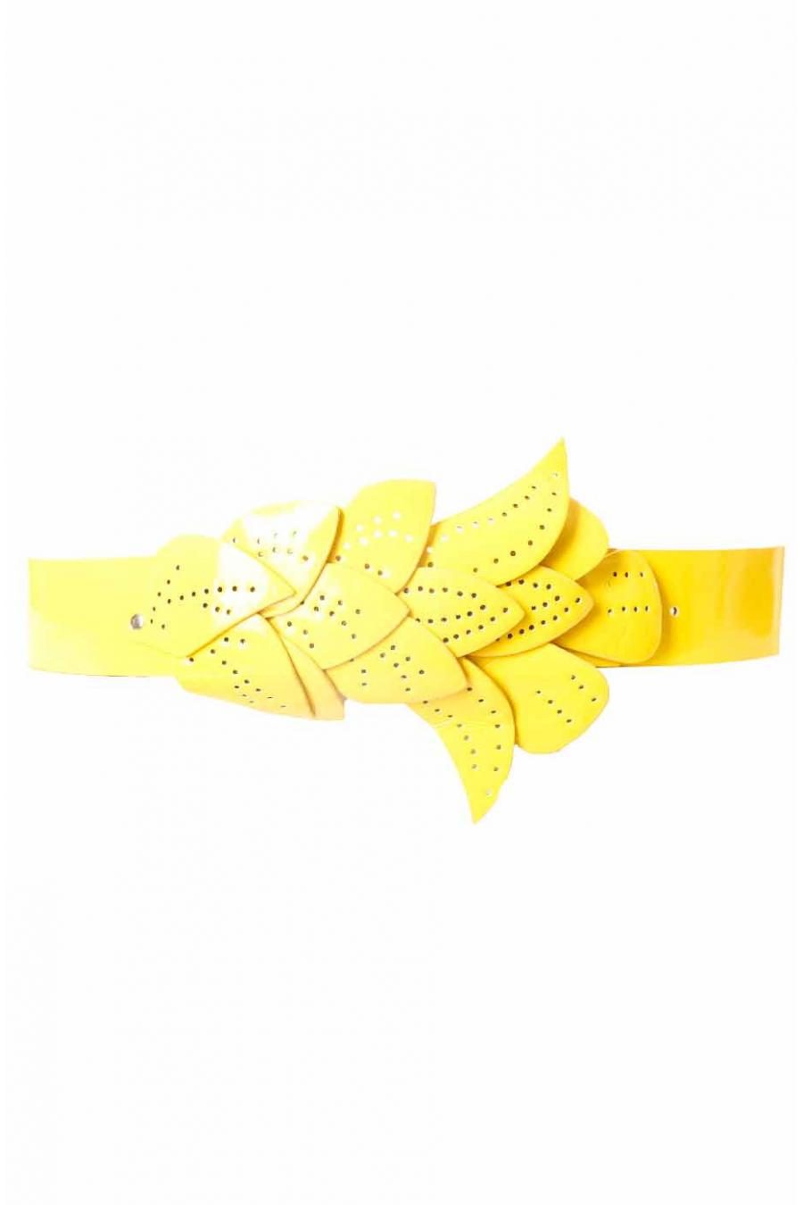 Yellow belt, leaf pattern buckle BG-PO44