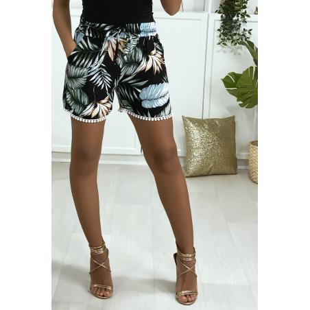 Short en coton motif fleuris noir vert et corail avec poches