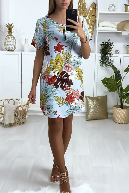 Blue dominant floral tunic dress with zip at the collar