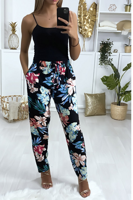Zwarte fuchsia blauwe broek met bloemmotief van katoen met zakken