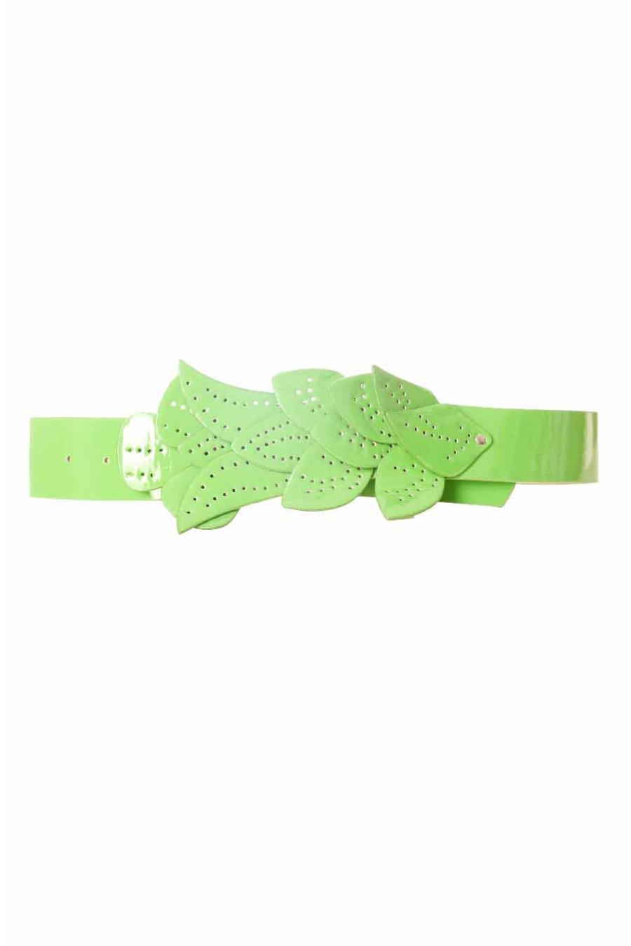 Groene riem, gesp met bladpatroon BG-PO44