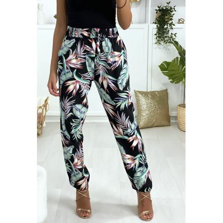 Pantalon motif fleuris noir vert fuchsia en coton avec poches