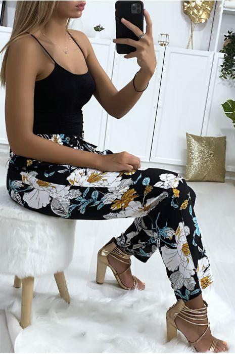 Pantalon motif fleuris noir moutarde blanc en coton avec poches