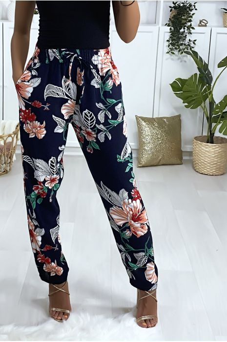 Pantalon motif fleuris marine rouge en coton avec poches