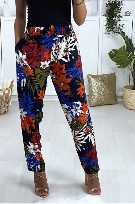 Pantalon noir motif fleuris en coton avec poches