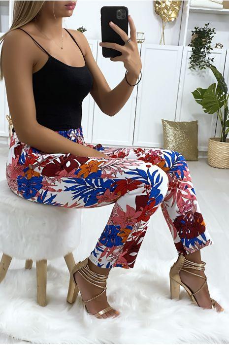 Pantalon blanc motif fleuris en coton avec poches