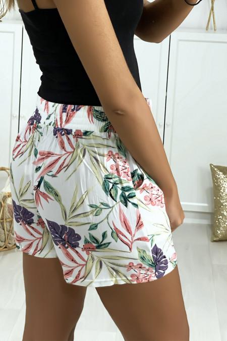 Short blanc en coton motif fleuris avec poches