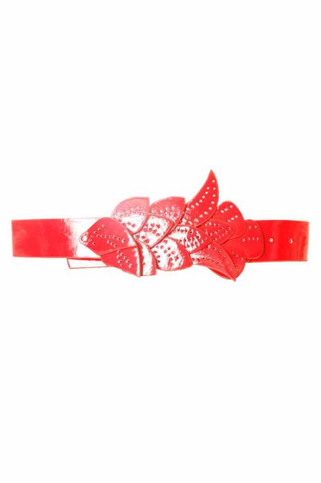 Red belt, leaf pattern buckle BG-PO44