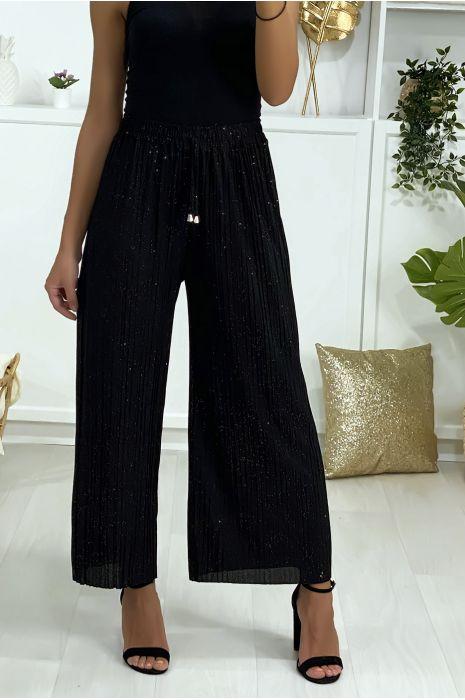 Pantalon palazzo noir plissé légèrement pailleté