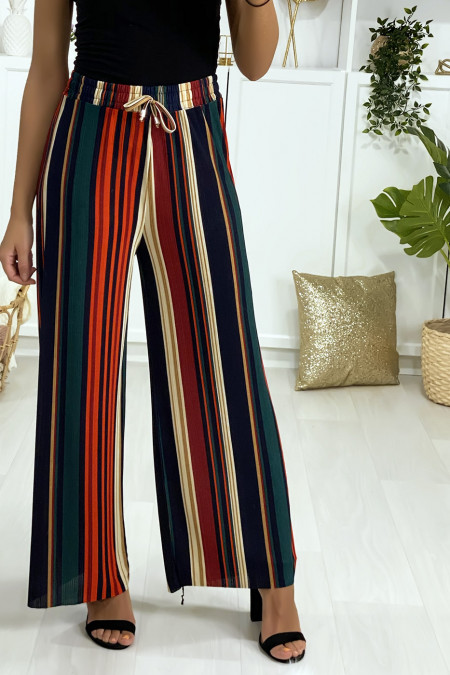 Green dominated striped palazzo pants