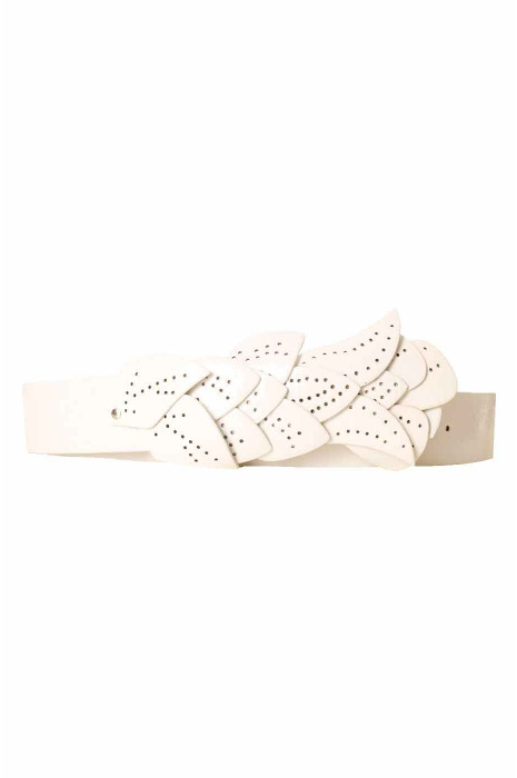 White belt, leaf pattern buckle BG-PO44