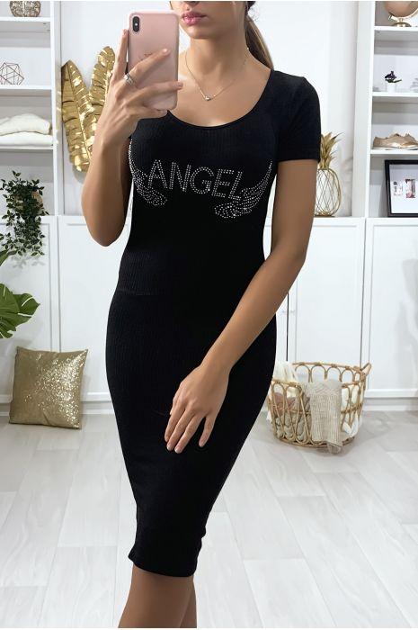 """Robe Noire moulante avec écriture et ailes strass """"ANGEL"""""""