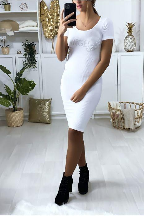 "Witte strakke jurk met letters en strass vleugels ""ANGEL"""