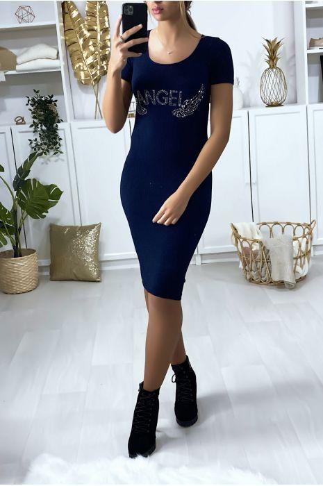 """Bodycon Navy jurk met tekst en strass vleugels """"ANGEL"""""""