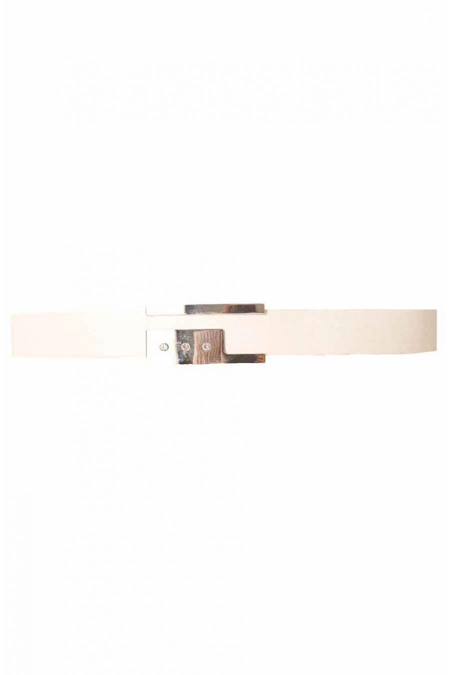 Witte riem, rechthoekige gesp met strass steentjes BG 0236