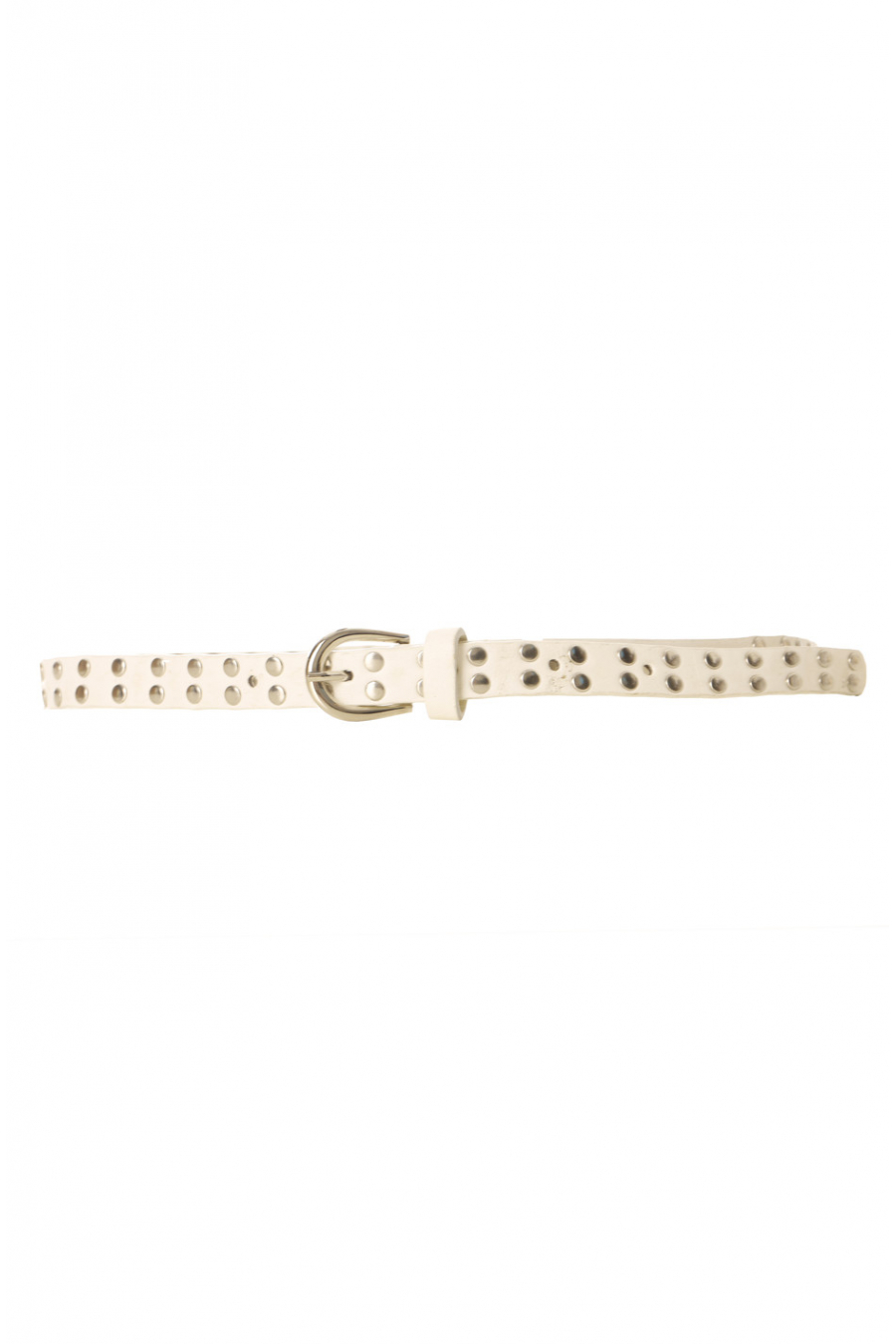 White studded belt with buckle. SG-0971