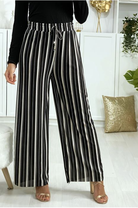 Pantalon palazzo rayé noir et blanc