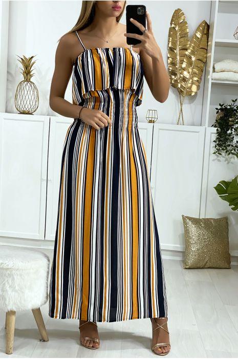 Longue robe rayé moutarde et marine avec volant et élastique à la taille