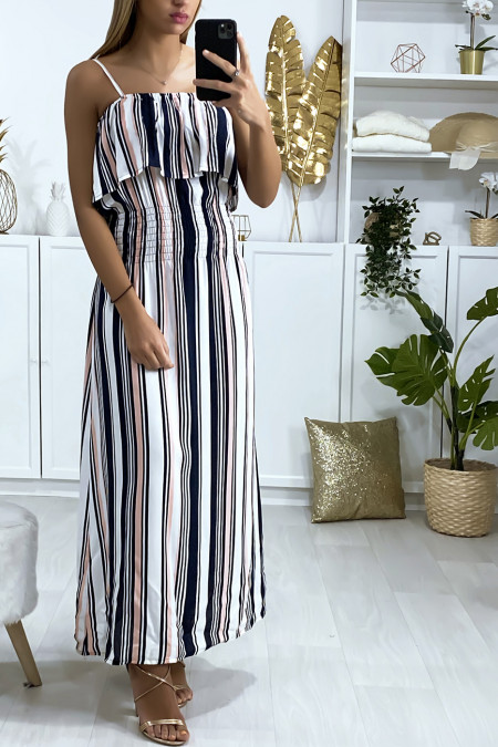 Long white and pink striped dress with flounce and elasticated waist