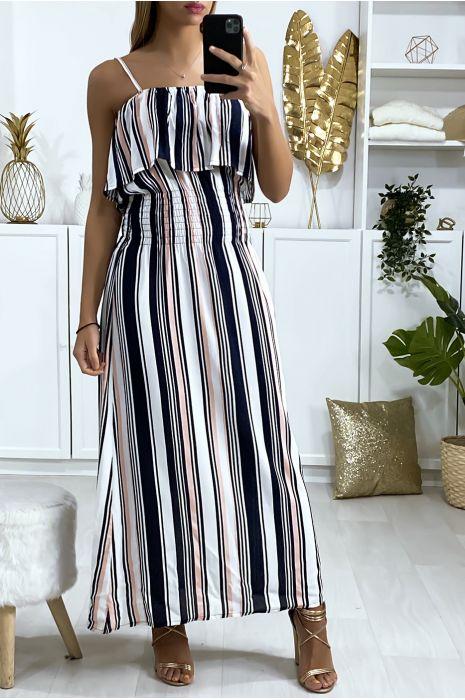 Longue robe rayé blanc et rose avec volant et élastique à la taille