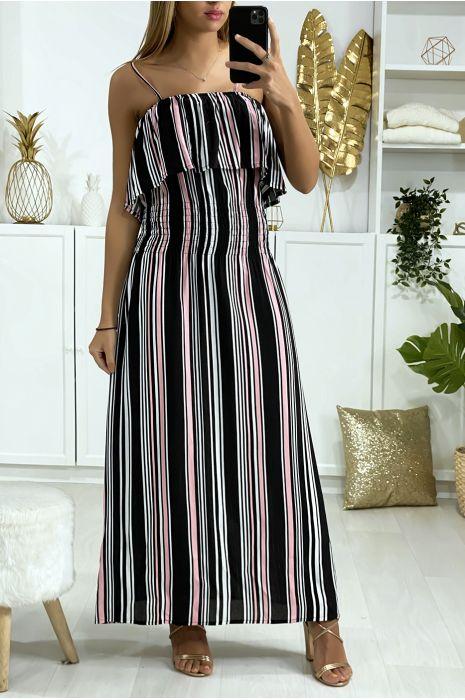 Longue robe rayé noir et rose avec volant et élastique à la taille