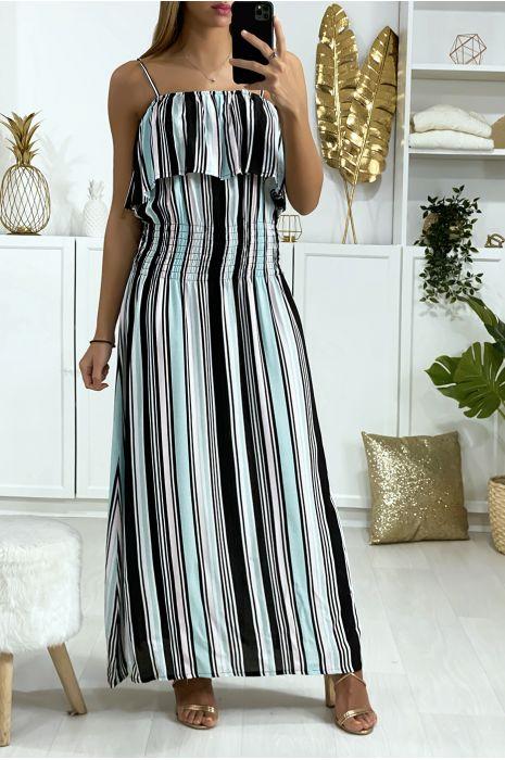 Longue robe rayé turquoise et rose avec volant et élastique à la taille