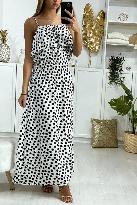 Long white polka-dot dress with flounce and elastic at the waist