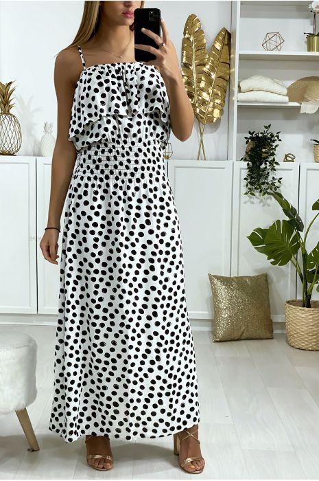 Lange witte jurk met stippen, volant en elastiek in de taille