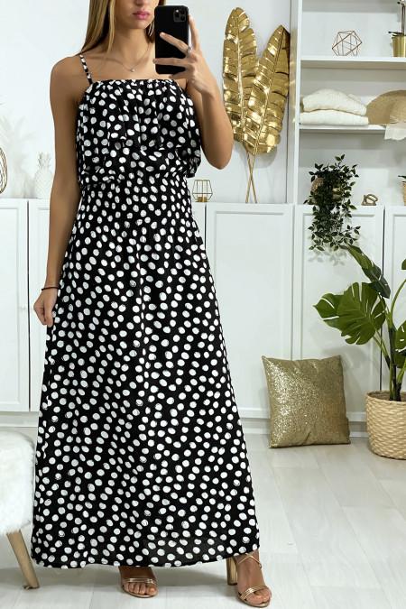 Longue robe noir à pois avec volant et élastique à la taille