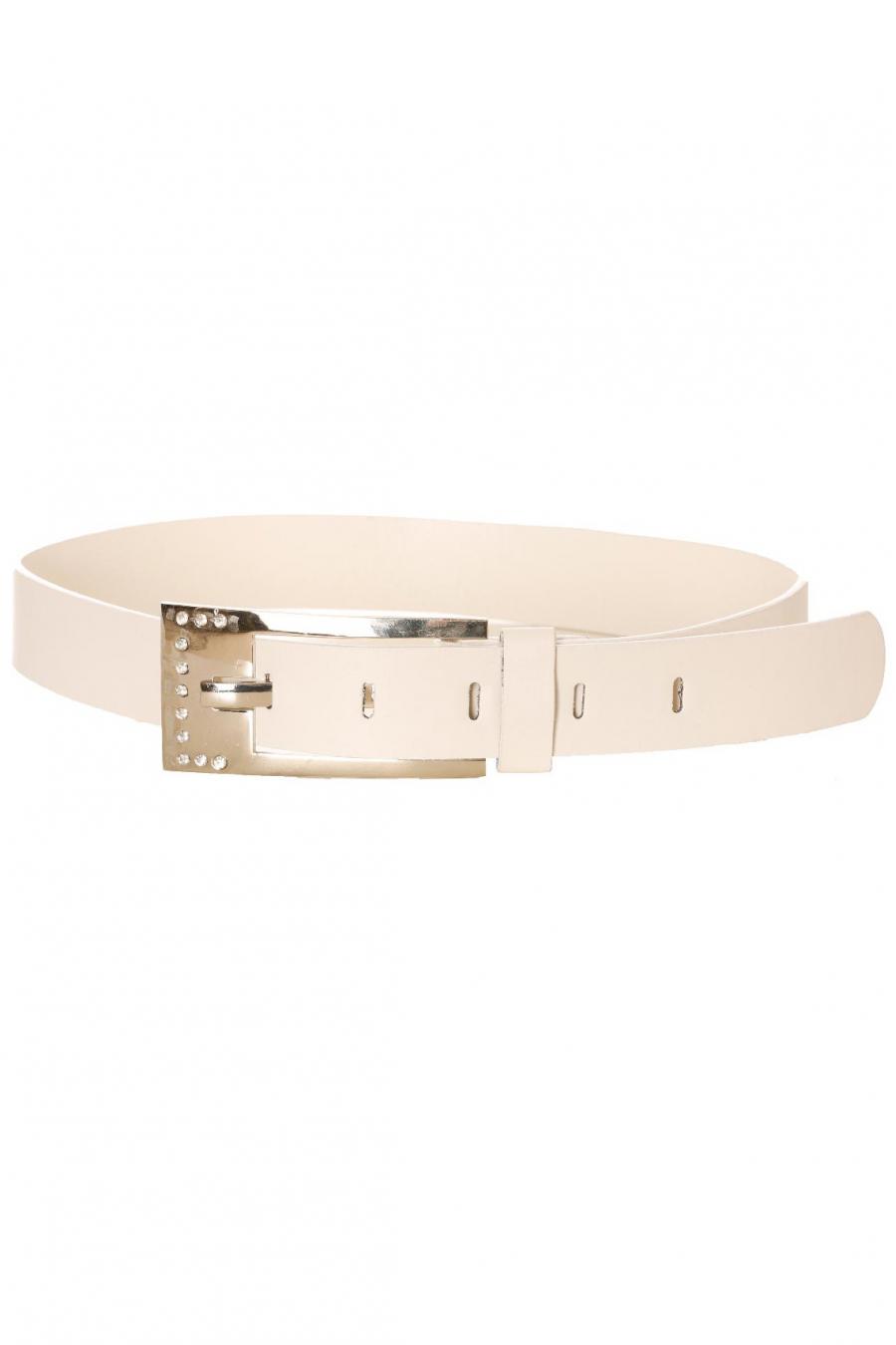 White belt, rectangle rhinestone buckle. BG-0237