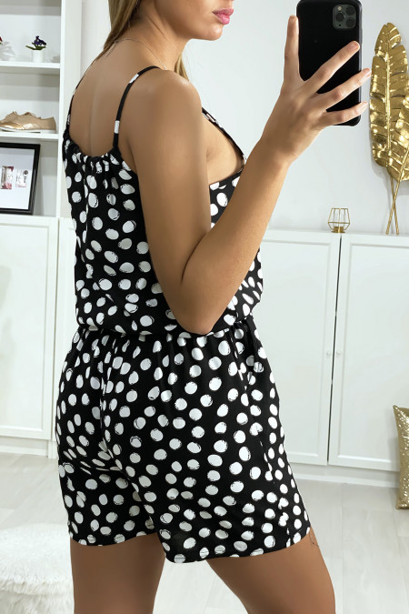 Black polka-dot cotton playsuit with lace on the shoulder strap