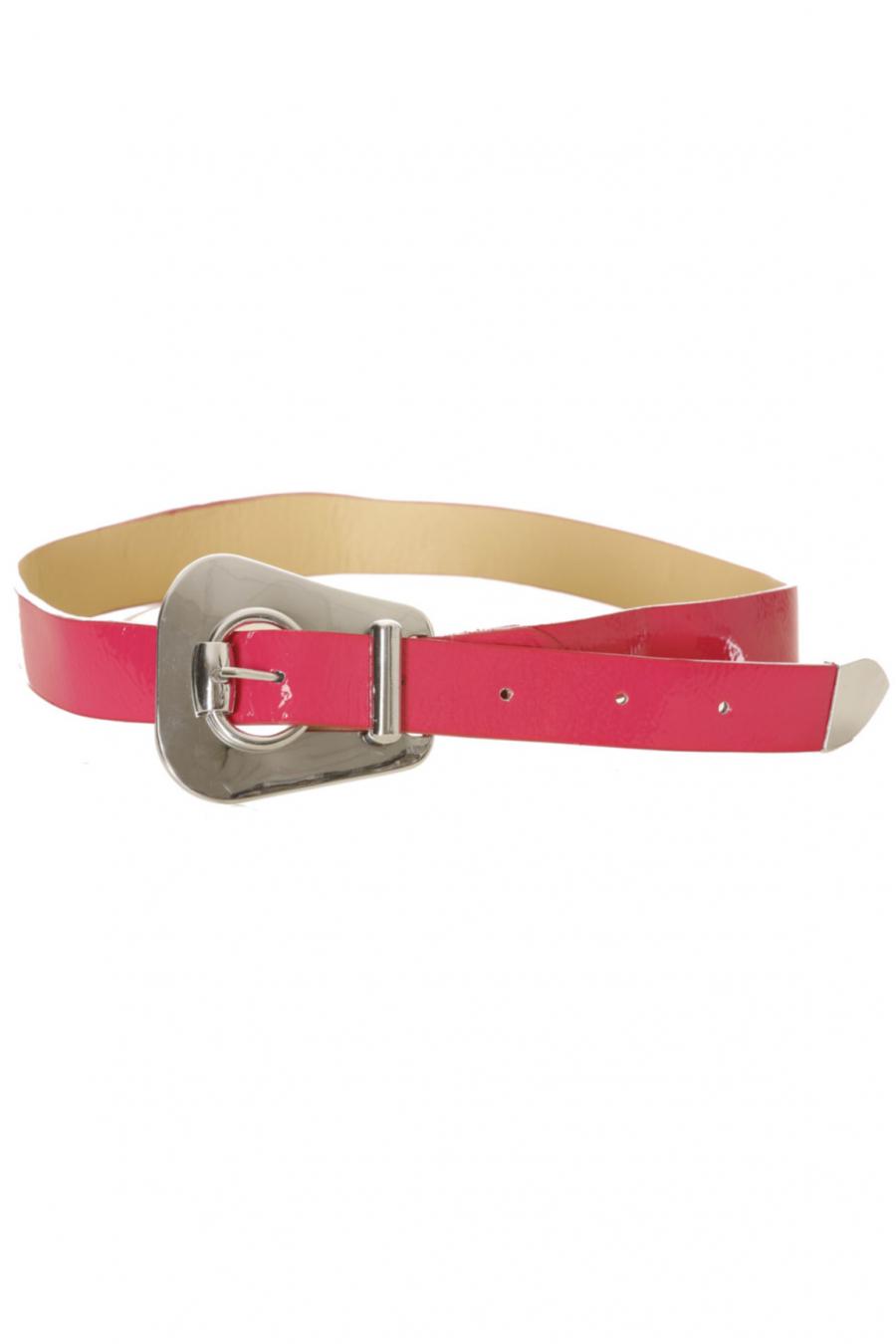Thin fuchsia belt, fancy buckle. 56-0255