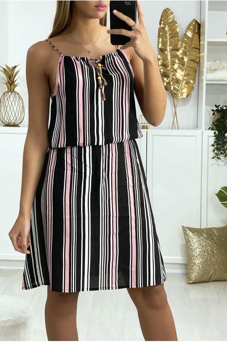 Zwart met roze gestreepte katoenen jurk zeer comfortabel om te dragen