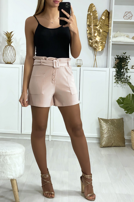 Pink shorts with button belt and pockets