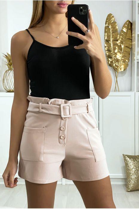 Short rose avec ceinture boutons et poches
