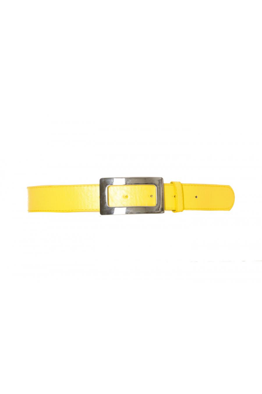 Ceinture jaune avec boucle en rectangle. SG-0292