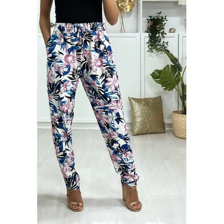 Pantalon motif fleuris rose en coton avec poches