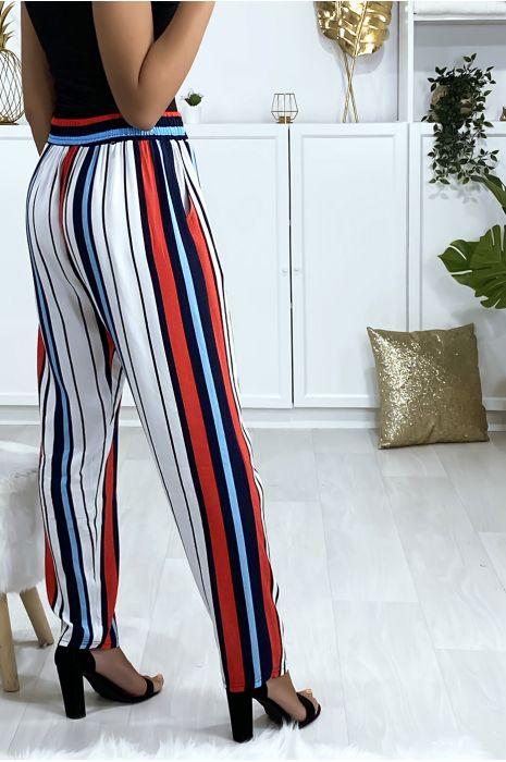 Pantalon rayé en coton bleu rouge blanc avec poches