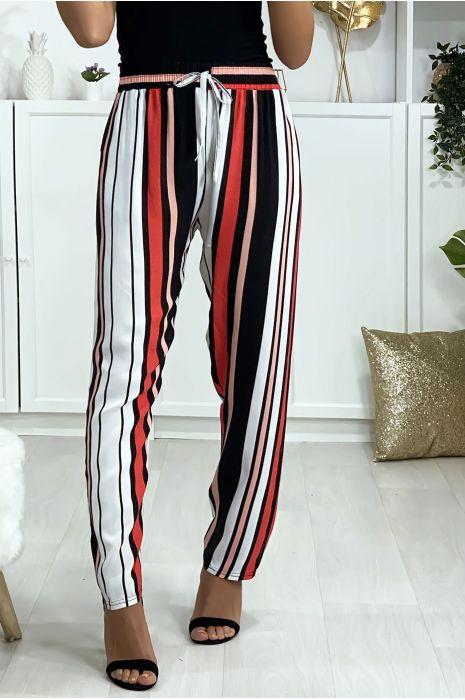 Pantalon rayé en coton rose rouge blanc avec poches