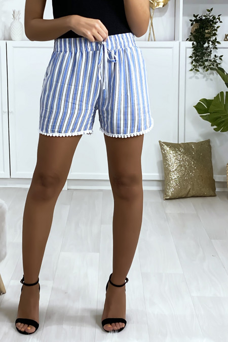 Blue and white striped cotton shorts with pockets