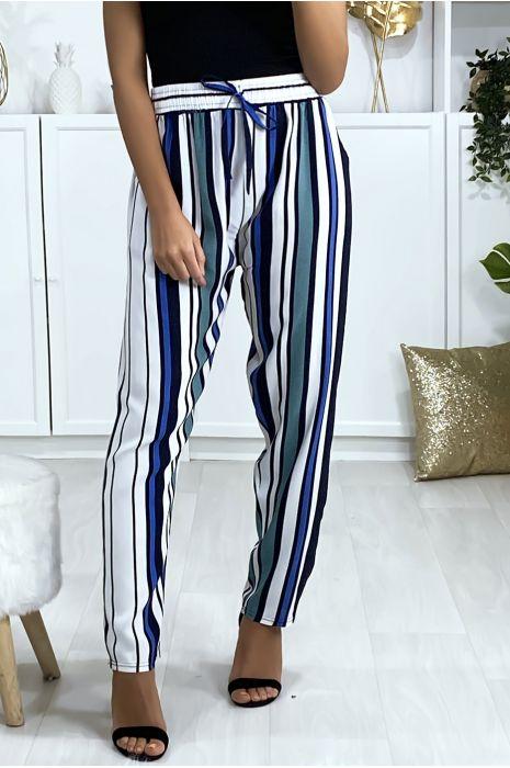 Pantalon rayé en coton vert bleu blanc avec poches