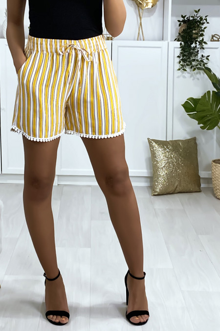 Mustard and white striped cotton shorts with pockets