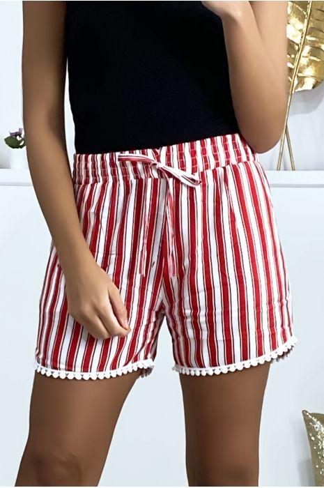 Short rayé rouge et blanc en coton avec poches