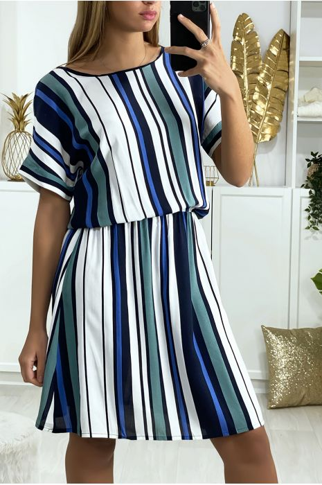 Gestreepte tuniekjurk met koningsgroen, wit en navy patroon met elastische tailleband